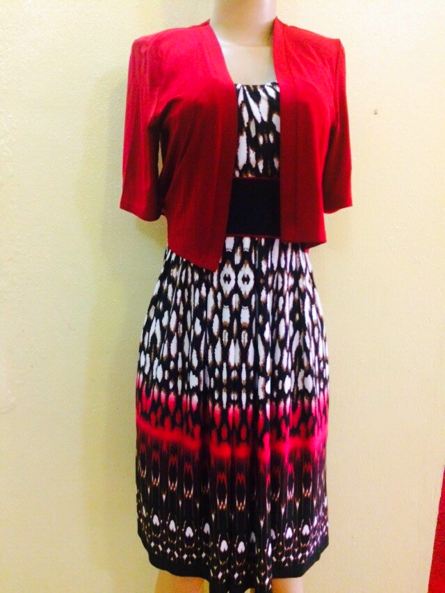 NEW...Multicoloured sleeveless dress with red jacket -2pc by R and M Richards