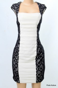 Cream Bodycon Dress with Black Lace Patches by Scarlett