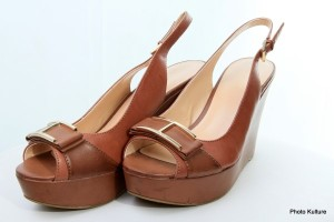 Brown open toe wedge by Tommy Hilfiger