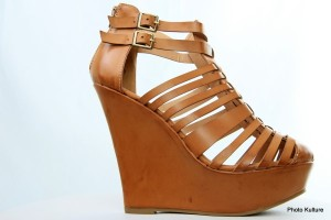 Light brown strappy leather wedge by Charlotte Russe
