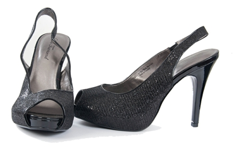 Open toe black shoe with slight sparkles by Lulu TownSend