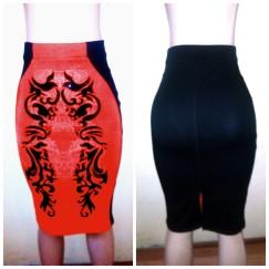Orange with black combo bandage skirt by River Island.