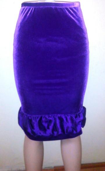 Purple velvet knee length skirt. NGN 9000