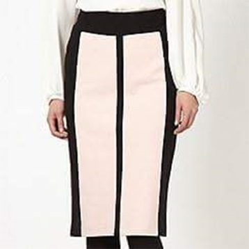 Soft Peach pencil skirt with black lines SOLD OUT