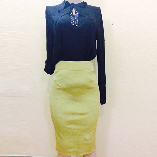 Lemon pencil fitted skirt