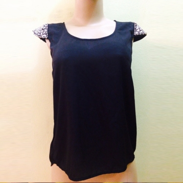 New...Black silk top with silver sequins details SOLD OUT