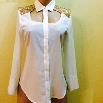 New...White shirt with gold sequins details SOLD OUT