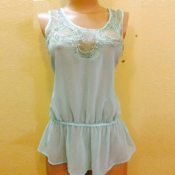 New...Light green sleeveless top with lacey details SOLD OUT