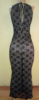 Black and champagne Lacey dress. Back view. NGN 25000