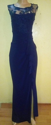 Navy gorgeous maxi dress with Lacey patch and front ruffles. NGN 25000 SOLD OUT