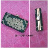 Peacock inspired green box clutch bag. NGN 8000