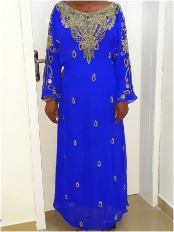 Royal blue belted and beaded Kaftan. NGN 20000