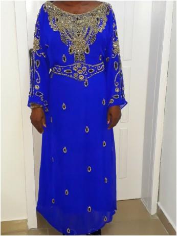 Royal blue belted beaded Kaftan . NGN 20000