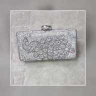 Peacock inspired silver box clutch bag. NGN 8000