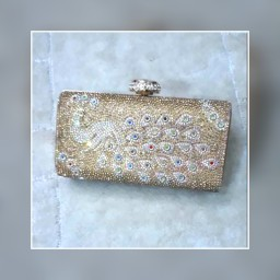 Peacock inspired gold box clutch. NGN 8000