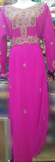 Pink stone beaded belted Kaftan with extra detachable belt. NGN 20000