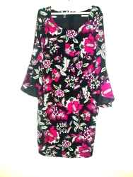 Multi coloured floral dress with qts bell dleeves. NGN 13,000
