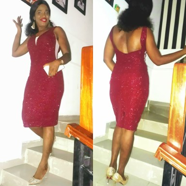 Red dazzling dress with sparkles. NGN 15000