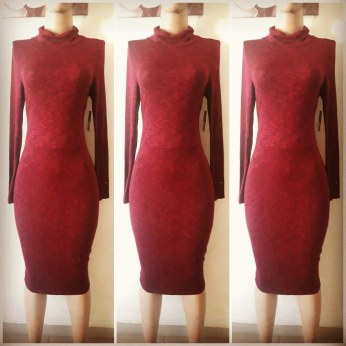 Wine red turtle necked dress. NGN 9500