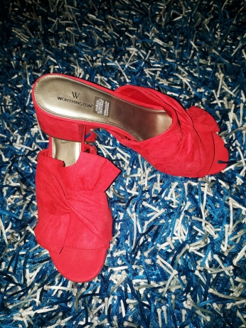 Red Liz Clairborne suede slippers. NGN 12,500