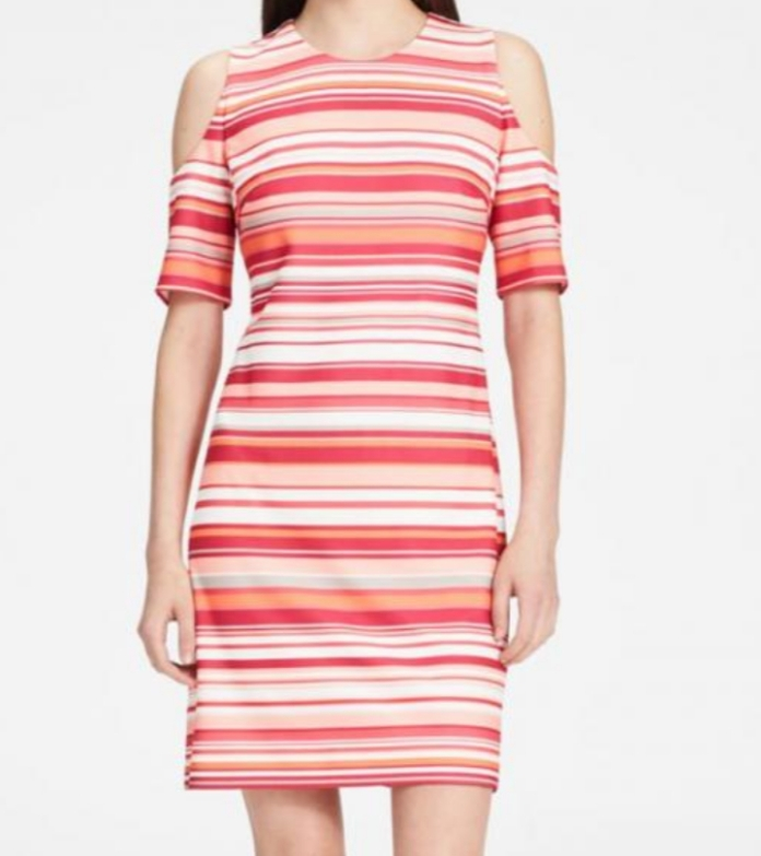 Multi stripped cold shoulder dress by Calvin Klein. NGN 16000