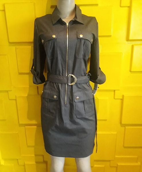 Brown/biege belted dress. Also available in navy. NGN 16000