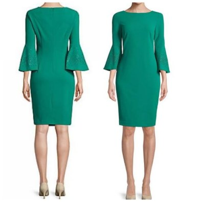 Calvin Klein green straight dress with bell sleeves. NGN 17000