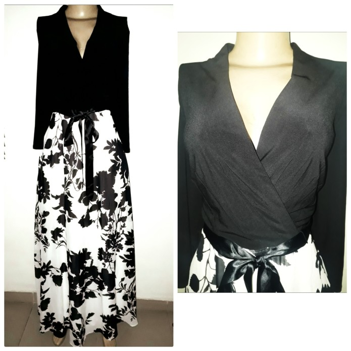 Black & white maxi dress with detachable belt. NGN 25000