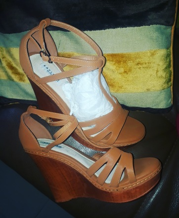 Brown leather wedges.NGN 13000