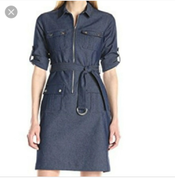 Navy Sharagano frobt zipped belted dress NGN 16000