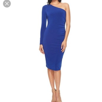 One shoulder blue dress by London Times. NGN 15000