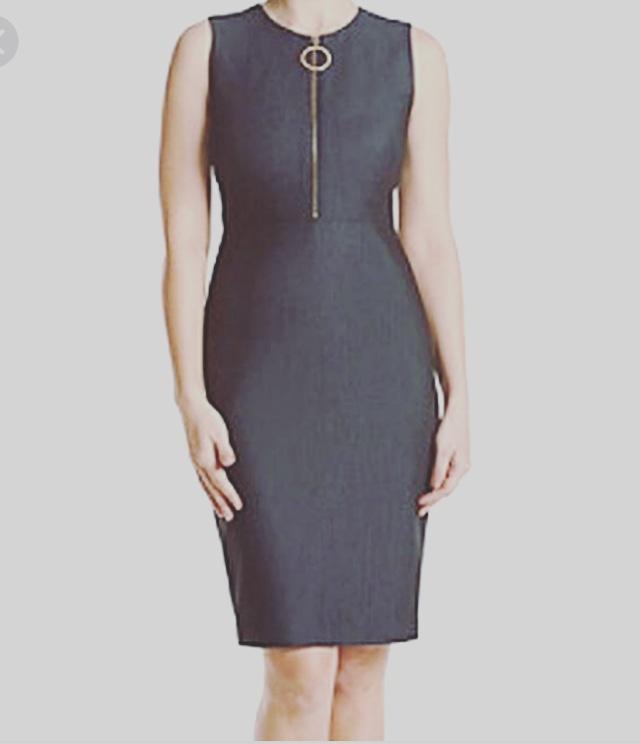 Calvin Klein zip-front crewneck dress. NGN 15 000