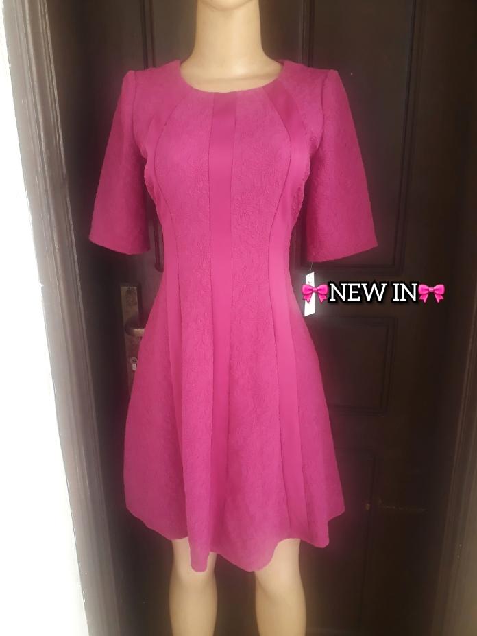 Dark Pink short sleeved flared dress. NGN 13000