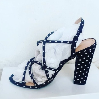 Polcadotts strappy sandals with block heels. NGN 11000