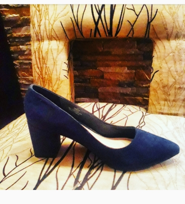 Navy blue court suede court shoes by Xappeal . NGN 15000