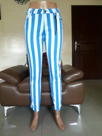 Stripped stretchy denim pants by Forever 21. NGN 8000