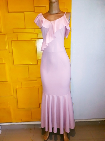 Lustre light pink maxi dress. NGN 13000