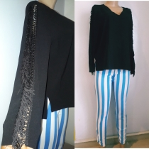 Black top withbfringed sleeves by Asos. NGN 6500